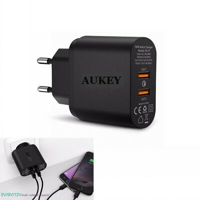 AUKEY 36W 2 Port Fast Charging Wall Charger Quick Charge 2.0 USB Charger Adapter