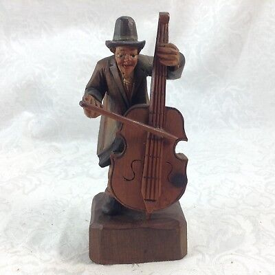 Hand Carved Anri Man with Cello Figurine Wood Vintage
