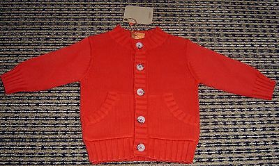 Timberland  Baby Boys French Red Cotton Cardigan  Sz 6 Months New With Tags
