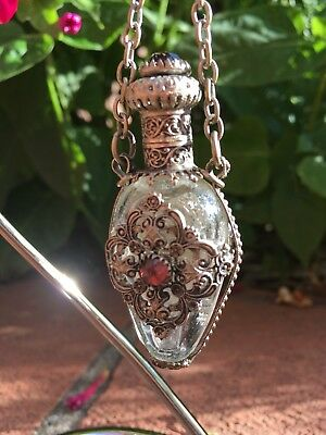 Antique VICTORIAN Jewelled Filigree PERFUME / Scent Bottle for CHATELAINE c.1870