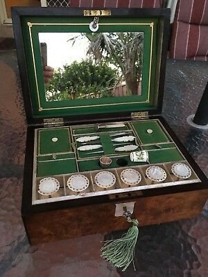 ANTIQUE Walnut SEWING BOX / Mother of Pearl Reels, TOOLS, Silver THIMBLE, Key