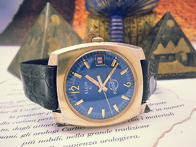 Vintage Elgin Sub-Sonic E.tronic Blue Dial Bold Notch Markers On Dial Mens Watch