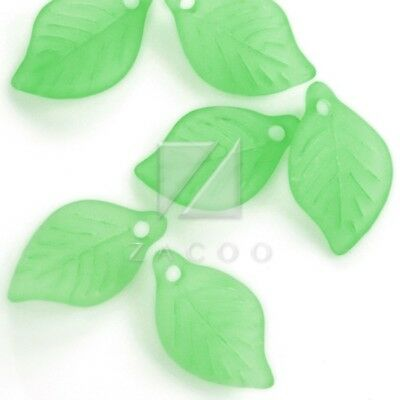69pcs Acrylic Leaf Beads Jelly-like Crafts 18x11x3mm Green
