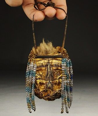 Native American Iroquois Indian Beaded Turtle Shell Medicine Bag Fetish 19th C.