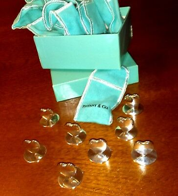 Tiffany, rare, vintage 925 Sterling Silver Heart Place Card Holders - set of 8