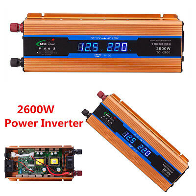 Portable 2600W Power Inverter Car DC 12V To AC 220V Power Converter USB Charger