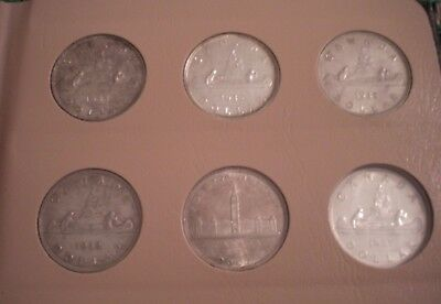 Canada Silver Dollar Fifty Coin Collection 1935 to 1995