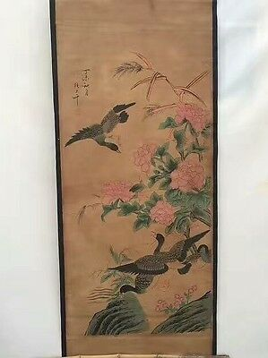 Collectible Old Decor superb Chinese long Scroll Painting wild goose and Flower