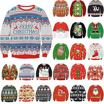 Christmas UGLY 3D Graphic Print Men Women Jumper Sweater Sweatshirt Pullover Top