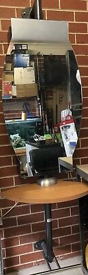 Wall Mounted Hair Salon Station Mirror, Storage Shelves, Swivel Table &Foot Rest