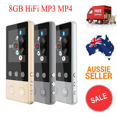 AU 8GB Bluetooth HiFi MP3 MP4 Music Player LCD Screen Recording Pedometer Sports