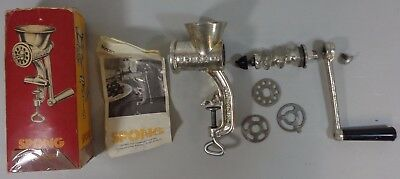 Vintage Spong National 20 Hand Manual Mincer with Instructions in Original Box