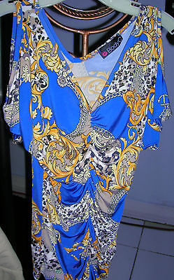 Lot of 2 Vintage Womens Soft BODY C Blue Yellow & Rust Brown Top Silky Blouse M