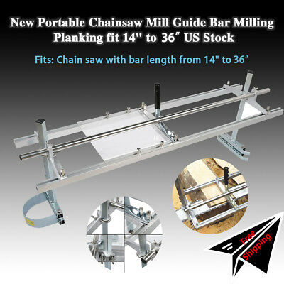 "Chainsaw Mill 14""-36"" Portable Chain Saw Mill Aluminum Steel Planking Lumber"