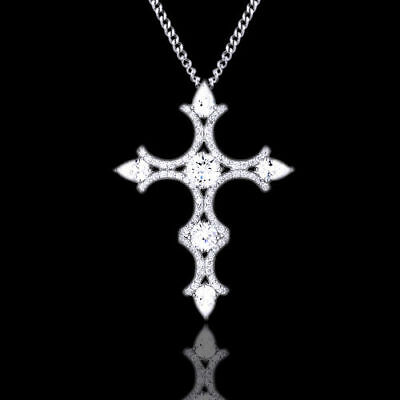 "Cubic Zirconia Cross Pendant w/18"" Chain 14k White Gold Over Sterling Silver"