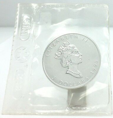 1995 Elizabeth ll $5 Maple Leaf .9999 Fine Silver 1oz Argent Pur Sealed