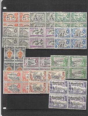 a113 - NIGERIA - SG69-80 MNH 1953 DEFINITIVES 1/2d - £1 - BLOCKS OF 4