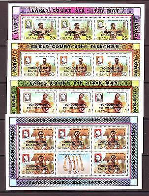 a118 - GHANA - SG907-910 MNH 1980 LONDON 1980 STAMP EXHIBITION - SHEETLETS