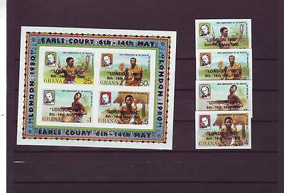 a118 - GHANA - SG907-MS911 MNH 1980 LONDON 1980 STAMP EXHIBITION - IMPERF