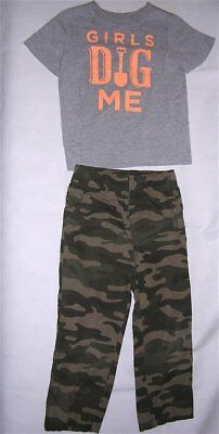 28fcdda227daf Carter's Toddler Boys Outfit T-Shirt Girls Dig Me 4T & Camouflage Pants 5T  GREAT