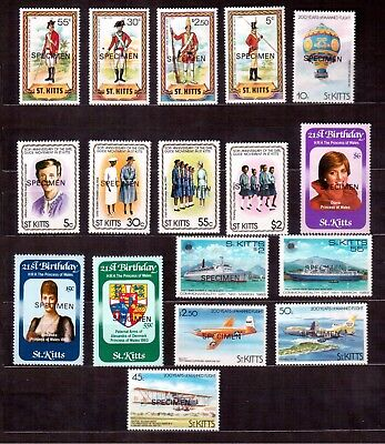 St. Kitts, Lot Of 17 Stamps With Specimen Overprinted, Mint Hinged !!