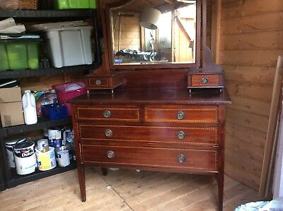 Vintage Dressing Table With Marquetry. Upcycle.