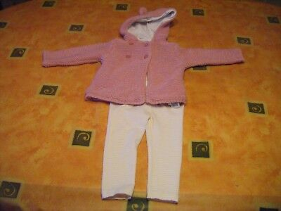 Marks & Spencer Baby Girls Hooded Jacket & Bluezoo Leggings Size 9-12 months