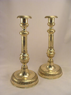 Unique Pair French Antique Brass Bronze Louis XVI Candlesticks 18th.C.