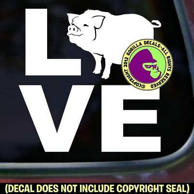 LOVE Word POT BELLY PIG Vinyl Decal Sticker Love Car Window Wall Laptop Sign