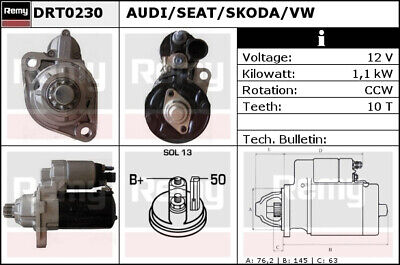 AUDI TT 8J 2.0 Starter Motor 06 to 14 Remy Genuine Top Quality Replacement