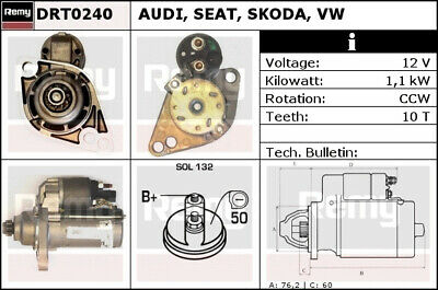 AUDI TT 8J 1.8 Starter Motor 08 to 14 CDAA Remy 02Z911024P Quality Replacement