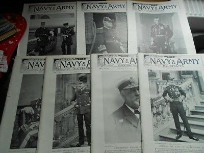 7 x Navy & Army Illustrated magazines 1896 with stunning pics, military, classy!