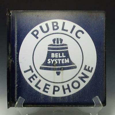 "Vintage Original 11"" Bell System Public Telephone Porcelain Flange Sign 2 Sided"