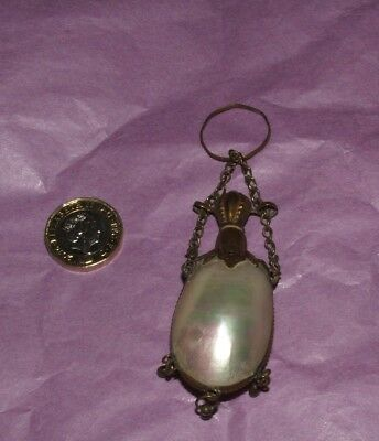 Antique Palais Royal Shell Mop Perfume Scent Bottle With Finger Chain