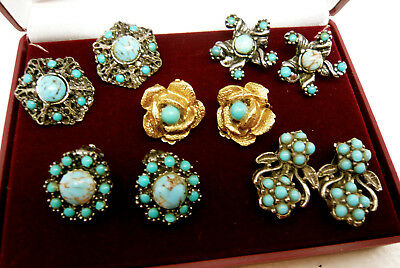 Vintage Jewellery Mixed Lot Of Turquoise Stone Earrings Clip On