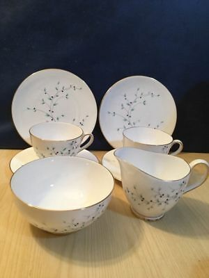 Tuscan Pretty Blue Flower Part Tea Set Jug & Bowl & Pair Of Trios Parties China