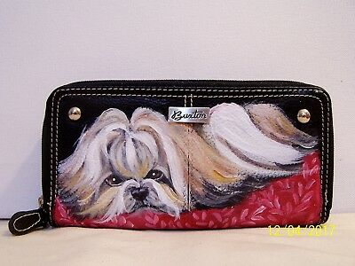Hand painted Shih Tzu genuine leather Buxton check book wallet dog art gift