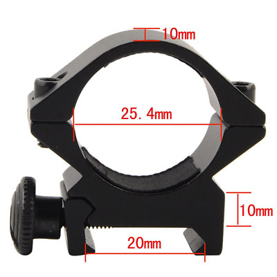 1PCS Tactical 25.4mm Low QD Ring Scope Mount with 20mm Pacatinny Weaver Rail
