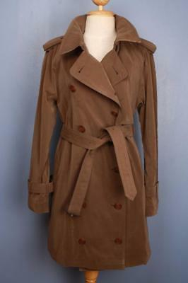 Womens BURBERRY Double Breasted Short TRENCH Coat Mac Brown 12/14