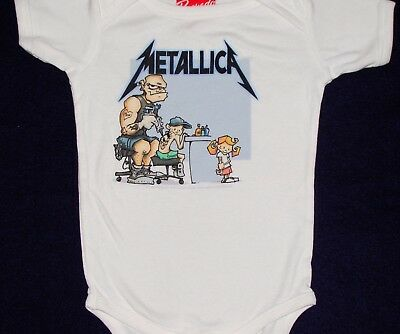 Metallica Color Logo White One Piece Crawler Shirt New Official Baby Infant