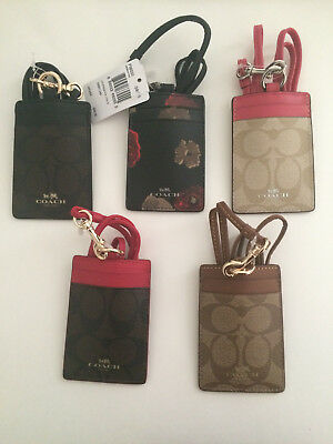 NWT Coach Lanyard ID Holder Signature Case Card Pass F63274,F56003