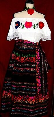 Vtg Mexico Dress 3 pc Fiesta Folkloric Floral Hand Embroidery Blouse/Skirt/Shawl