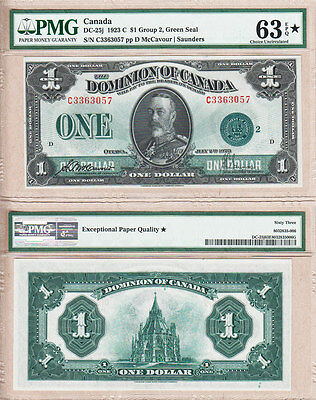 PMG CH UNC63 EPQ DC-25j 1923 $1 GREEN SEAL DOMINION OF CANADA  KGV PORTRAIT