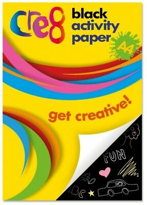 A4 60 Sheets Black Activity Drawing Pad - Children Craft Paper Creative Fun