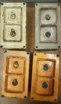 Vintage industral cast iron 'Walsall' WHM Co. light switch 2 gang 1 way x4 (no4)