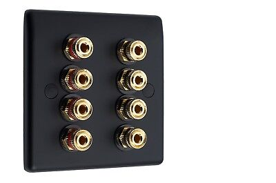 4.0 Matt Black Audio Speaker Wall Face Plate 8 Gold Binding Posts Non-solder