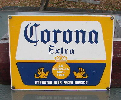 Corona Extra Beer Sign Ande Rooney Porcelain Enameled Great For Bar Man Cave Pub