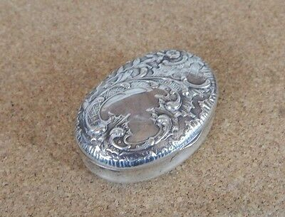Victorian Silver Plated Pill Box Repouse Design oval Leaf and flower design div1