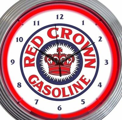 Red Crown Gasoline 15 Inch Neon Clock Office Game Room Garage Red White Blue