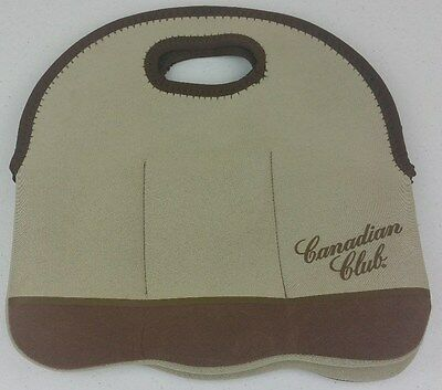 Canadian Club Stubby Bottle Holder Brown Carry Case - Collectable Cooler Bag A1